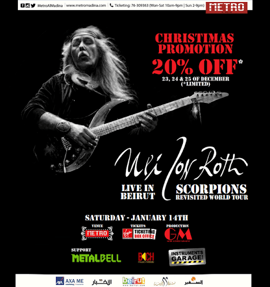 ULI JON ROTH - Scorpions Revisited Live in Beirut, January 14 - Metal Bell Magazine