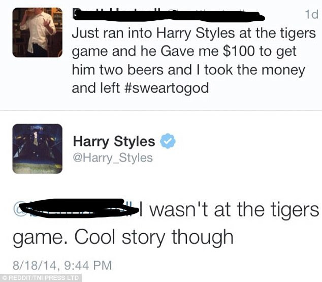 Harry Styles quickly destroyed this man's lie that he'd robbed the boy band star