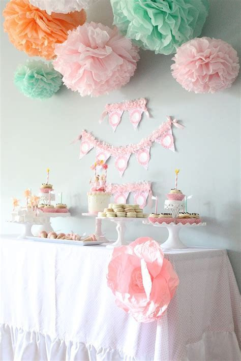 Maggie Collection  5 Pom Poms  baby girl shower hanging