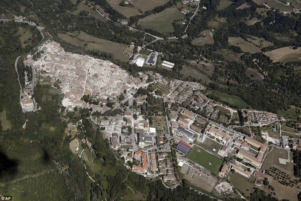 Side by side: The historical center of the town of Amatrice was completely wiped out but the newer part of town appears to remain standing