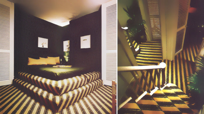 Retro Interior Design Motif Green Diagonal Stripes Mirror80