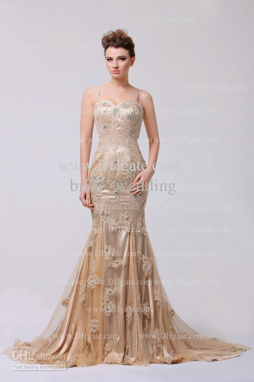 Champagne evening gown dresses