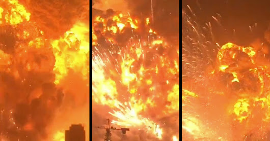 Insane New Footage of Yesterday's Explosion in Tianjin, China