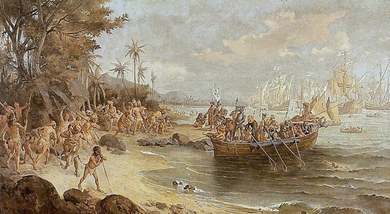 Ficheiro:Oscar Pereira da Silva - Desembarque de Pedro Álvares Cabral em Porto Seguro em 1500.jpg