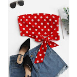 Women Tank Tops ZAFUL Smocked Knotted Polka Dot Bandeau Top L Lava red