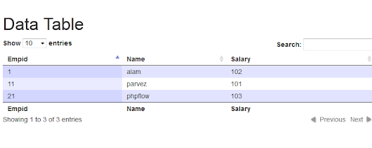 Datatable Pagination, Sorting and Search - Server Side (PHP/MySQl) Using Ajax - Phpflow.com