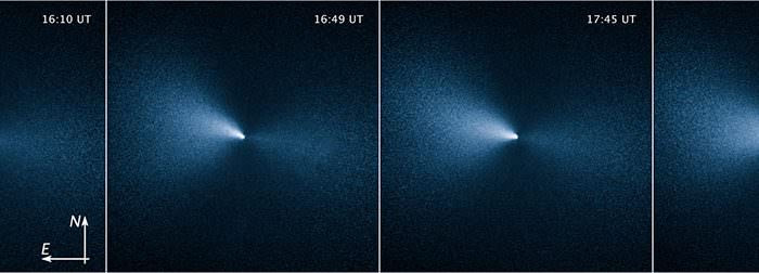 Views of the rotating jet in comet 252P/LINEAR on April 4, 2016. Credit: Credit: NASA, ESA, and J.-Y. Li (Planetary Science Institute)