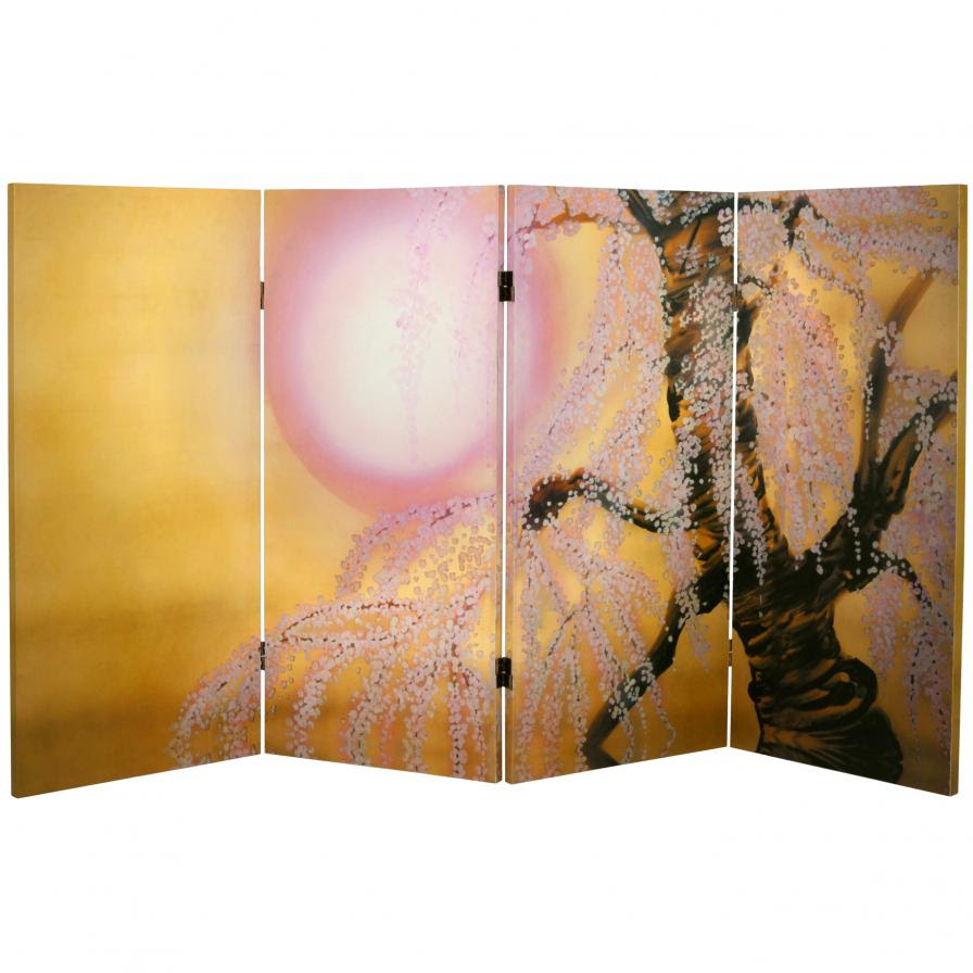 3 Ft Tall Double Sided Sakura Blossoms Canvas Room Divider Screenscom