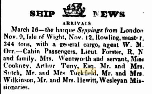 Trove Tuesday: Arrival of Francis and Sarah Tuckfield