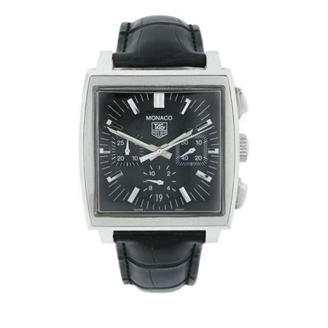 Tag Heuer Monaco CW2111 0 Chronograph Black Dial Black