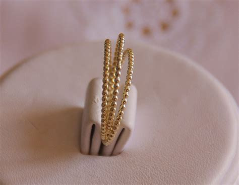 Set of 3  14k solid yellow gold beaded DOTTED stack