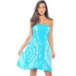 Riviera Sun Strapless Tube Short Dress / Summer Dresses (Turquoise / White) Women's