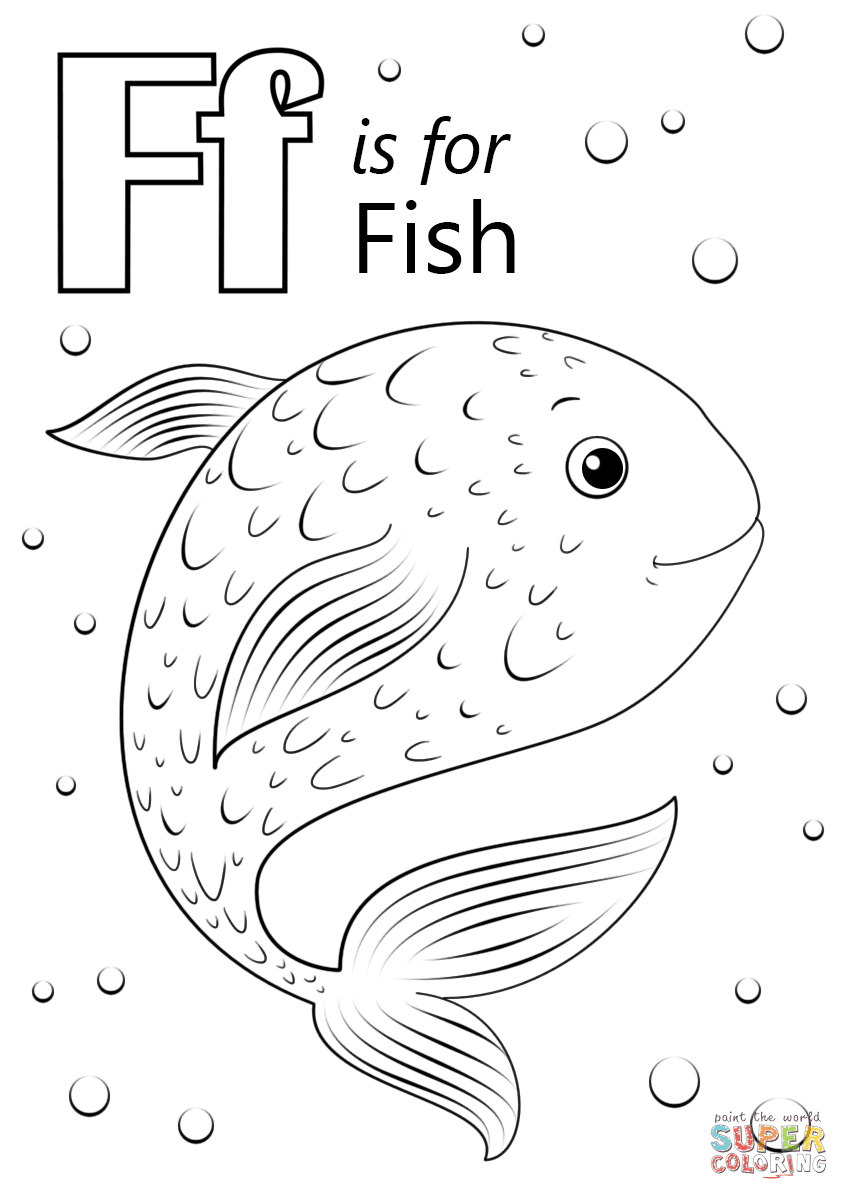 Letter F is for Fish coloring page | Free Printable ...