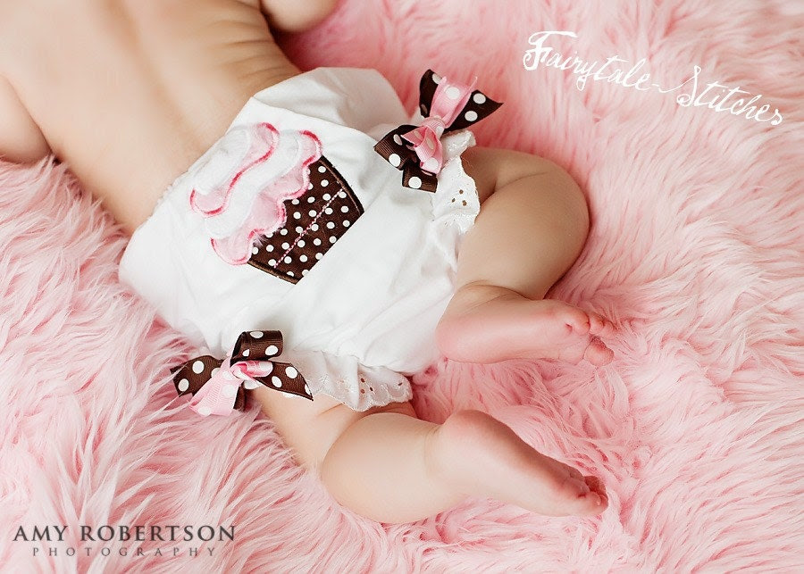 Personalized Boutique Diaper Cover Cupcake First Birthday with removable bows