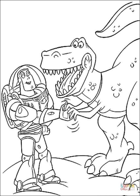 Dibujo de Buzz Lightyear con Rex para colorear   Dibujos ...