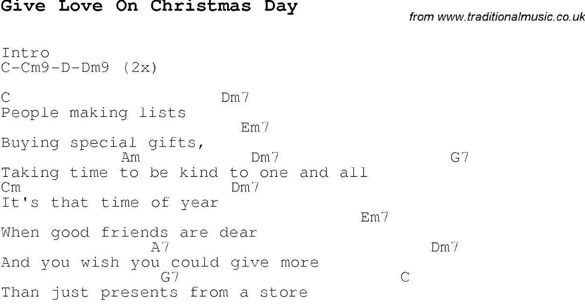 Give Love On Christmas Day Lyrics And Chords - LyricsWalls