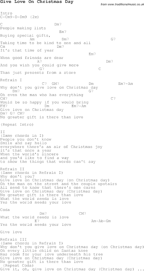 Give Love On Christmas Day Lyrics And Chords