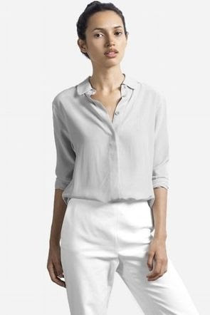 Everlane Silk Round Collar Shirt
