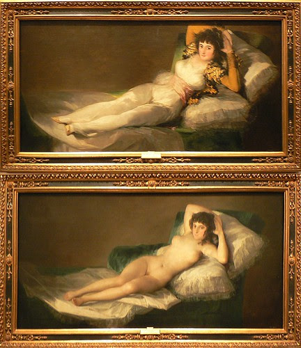 "Spain Madrid Prado Museum Goya Paintings Lady With and Without Clothes ""The Maja"" by Dave Curtis"