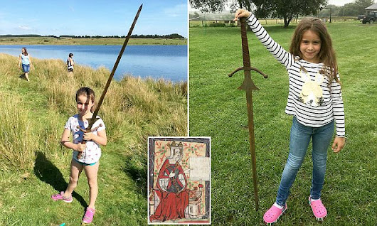 Schoolgirl pulls 4ft sword from Cornish lake