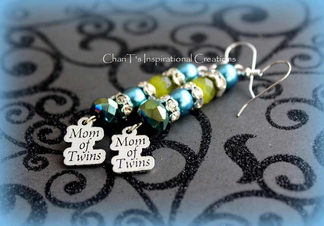 Blue and Green Mom of Twins Earrings