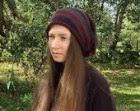 Slouchy hat striped beanie merino hat winter fall autumn purple brown headwear OOAK