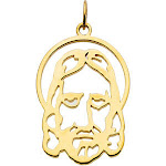 14kt Yellow Gold 1/2in Face of Jesus Silhouette Pendant