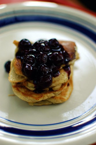 gluten-free pancakes with blueberry compote