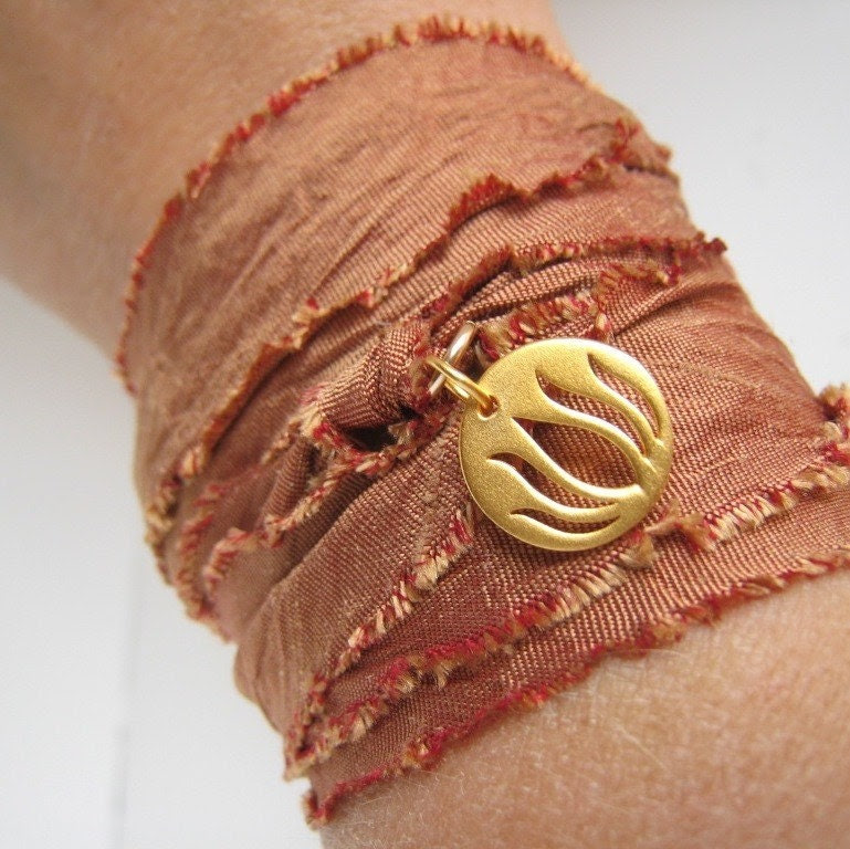 Silk ribbon wrap -- hand dyed dupioni silk vibrant peach ribbon bracelet or choker with 24kt vermeil lotus charm
