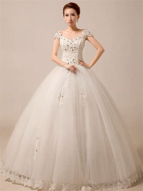 Cap Sleeves Princess Ball Gown Wedding from JoJo Dress