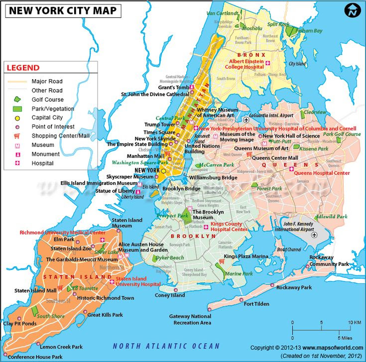 Map Of Newyork City In Usa Showing Roads Airports
