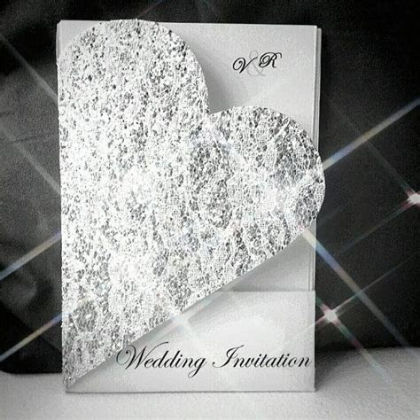 vanessa heart shaped invite cut  glitter silver lace