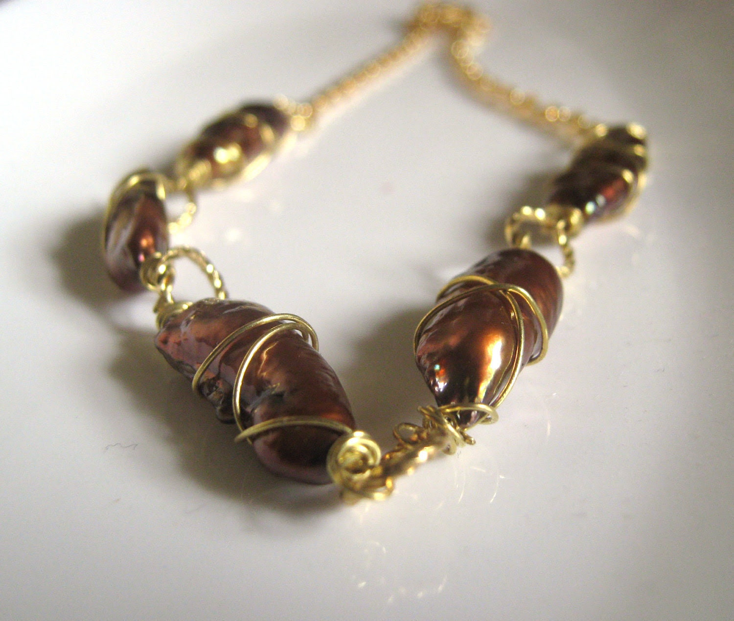 Bronze and Gold Necklace - Wire Wrapped Stick Pearls