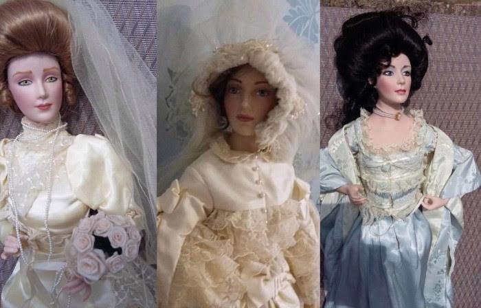 trio de muñecas de procelana