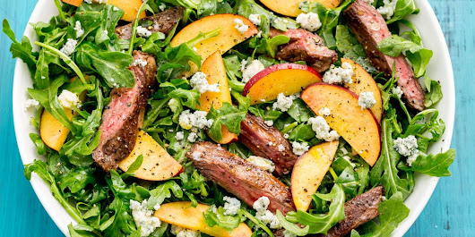 Balsamic Grilled Steak Salad with Peaches