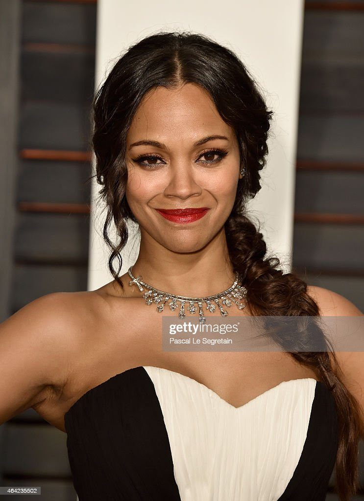 Actress Zoe Saldana attends the 2015 Vanity Fair Oscar Party hosted by Graydon Carter at Wallis Annenberg Center for the Performing Arts on February 22, 2015 in Beverly Hills, California.