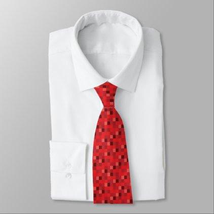 Red Pixelated Pattern | Gamer Tie
