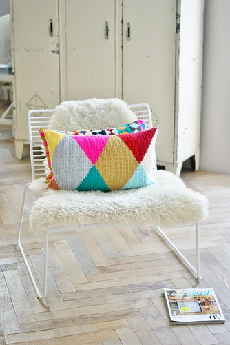 harlequin flipped over by wood & wool stool