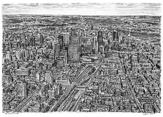 Aerial view of Montreal, Canada - Original drawings, prints and limited editions by Stephen Wiltshire MBE
