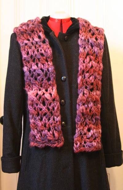 Chunky purple scarf -- post-block