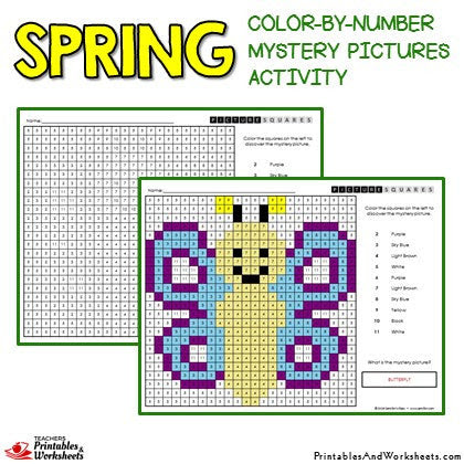 246 spring activities coloring color by number mystery pictures butterfy