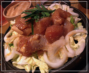 津田沼「茜どき」にて、ちょっとピリ辛「四万十鶏の味噌陶板焼き」。