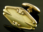 Elegant hexagon cufflinks with scrolls. (J8983)