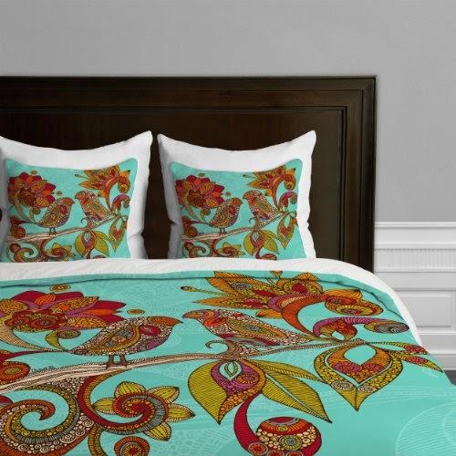 DENY Designs Valentina Ramos Hello Birds Duvet Cover, Queen   http://www.shopbeddingsets.com/deny-designs...