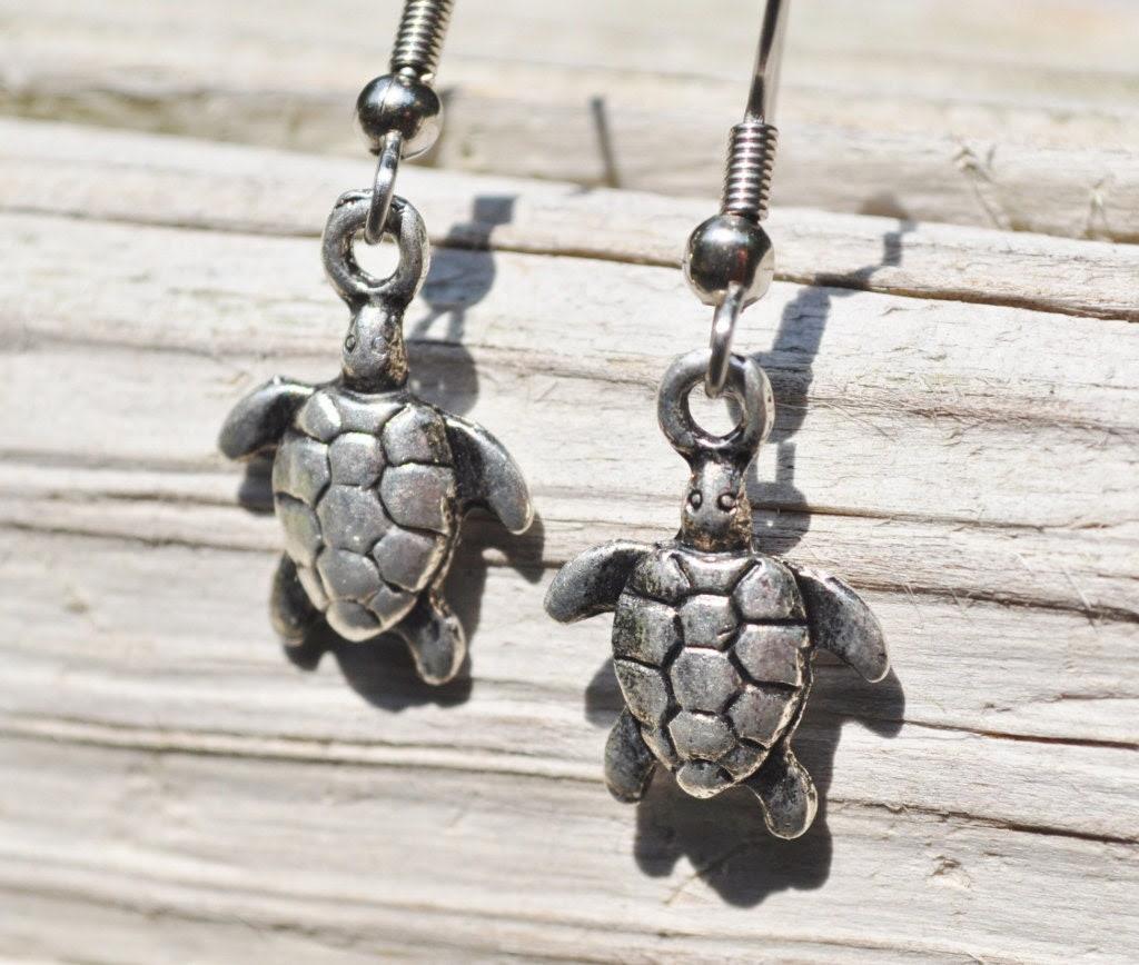 Turtle earrings in rustic metals