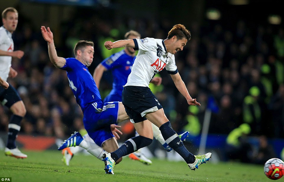 Blues centre back Gary Cahill is powerless to prevent Son Heung-min doubling Tottenham's advantage just before the break