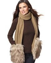 MICHAEL Michael Kors Knit Scarf with Faux Fur Pockets