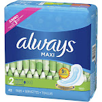 Always Maxi Size 2 Super Pads With Wings Unscented, 42 Count