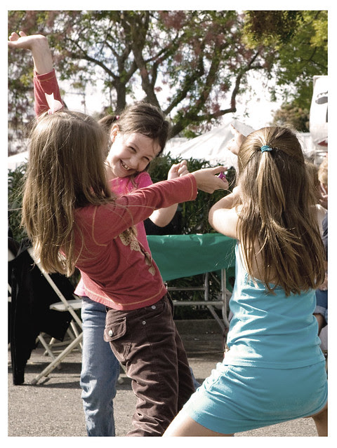 Three Girls Dancing at Los Altos Festival