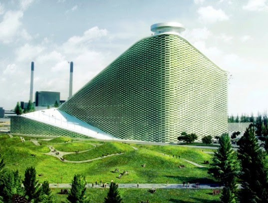 Amagerforbraending, artificial skiing, big, Bjarke Ingels Group, Copenhagen green building, energy carbon output, green energy, green sking, green smokestack, Industrial architecture, waste to energy